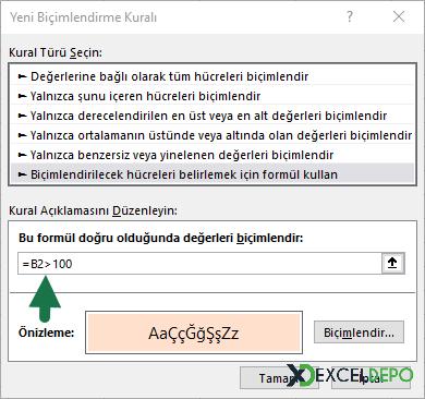 Koşullu Biçimlendirmede Formül Kullanımı - Koşullu Biçimlendirme Kutucuğu
