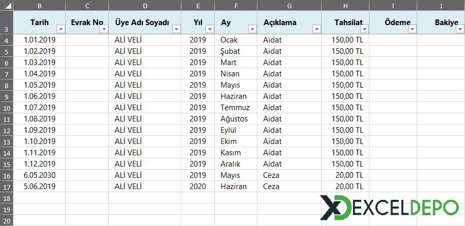 Aidat Takip Excel Çizelgesi