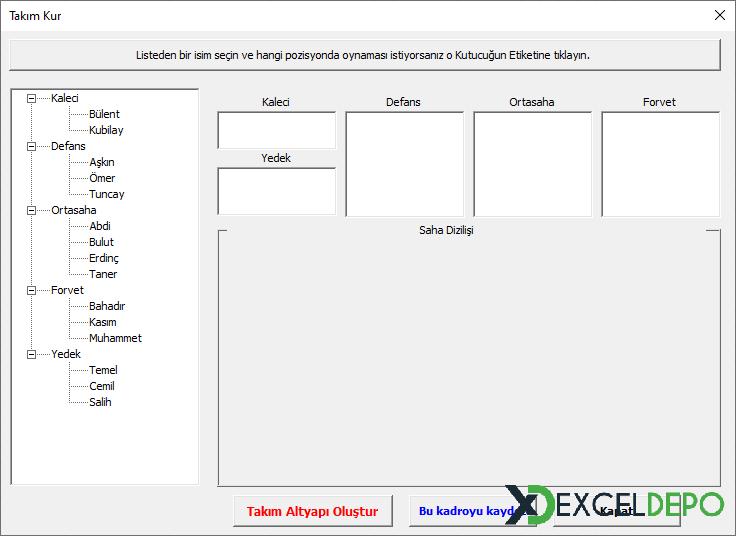Excel ile Halı Saha Takımı Oluşturma