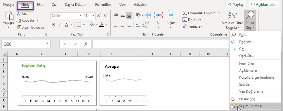 Ctrl + A Klavye Kısayolunu Kullanma