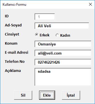 UserForm Üzerinden Excel'e Kayıt