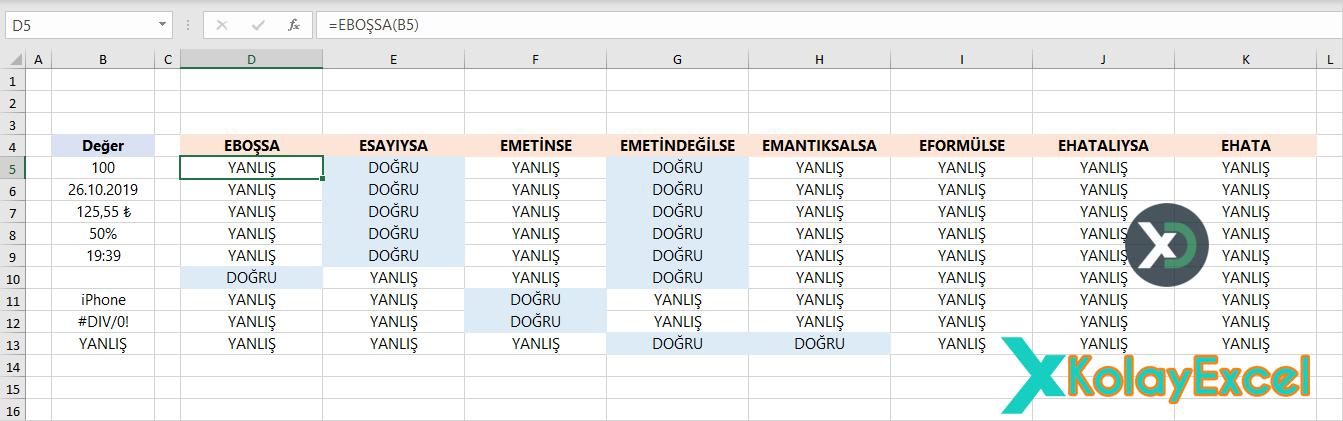 101 Tane Yararlı Excel Fonksiyon Örneği