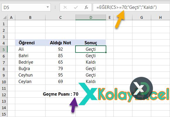 Excel Formülleri Kullanım Örnekleri