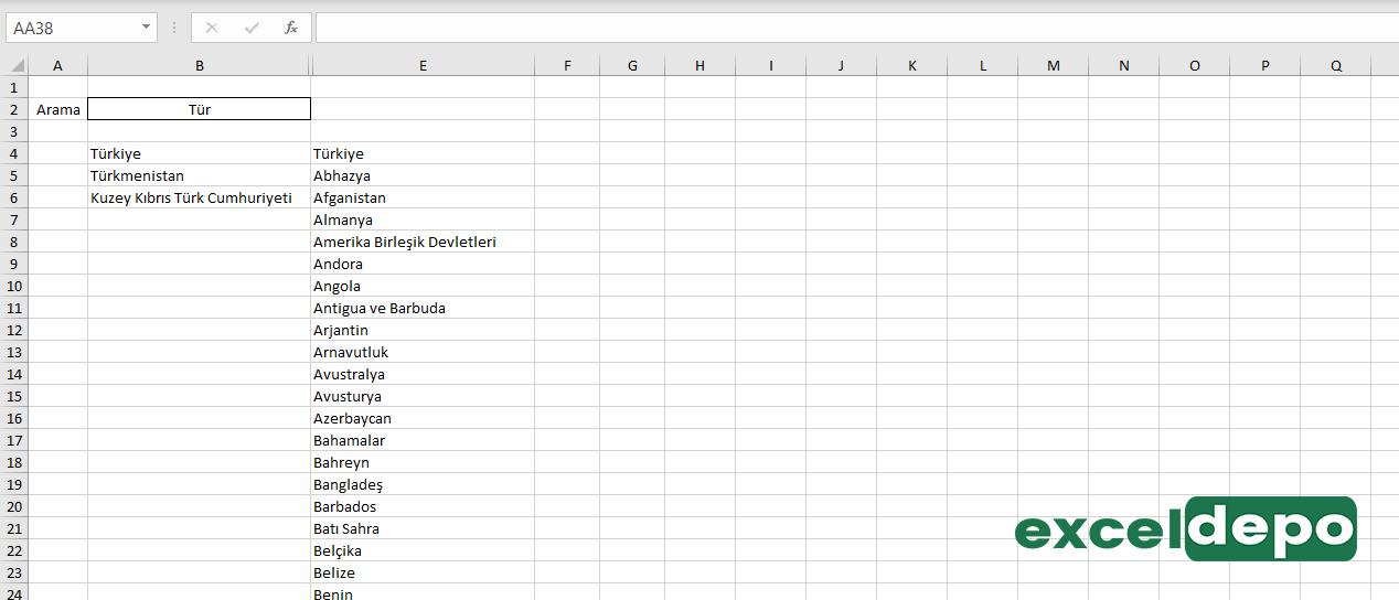 Excel Hücresinde Arama Kutusu