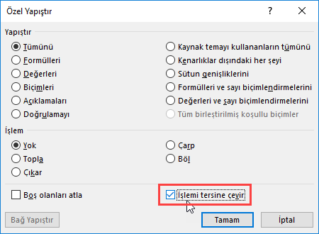 Excelde İşlemi Tersine Çevirme Nasıl Yapılır