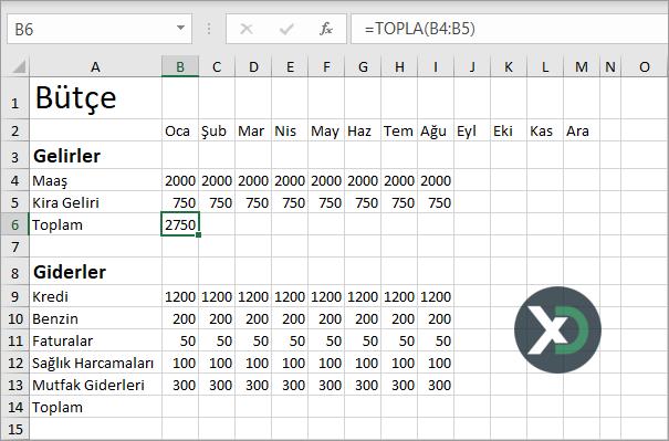 Excel'de Bütçe Dosyası Oluşturma