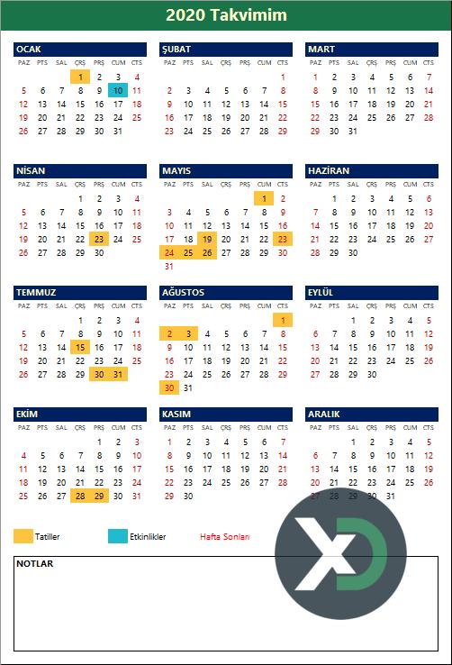 2020 Yılı Takvimi